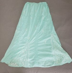 Floor Length Aqua Skirt with White Embroidery